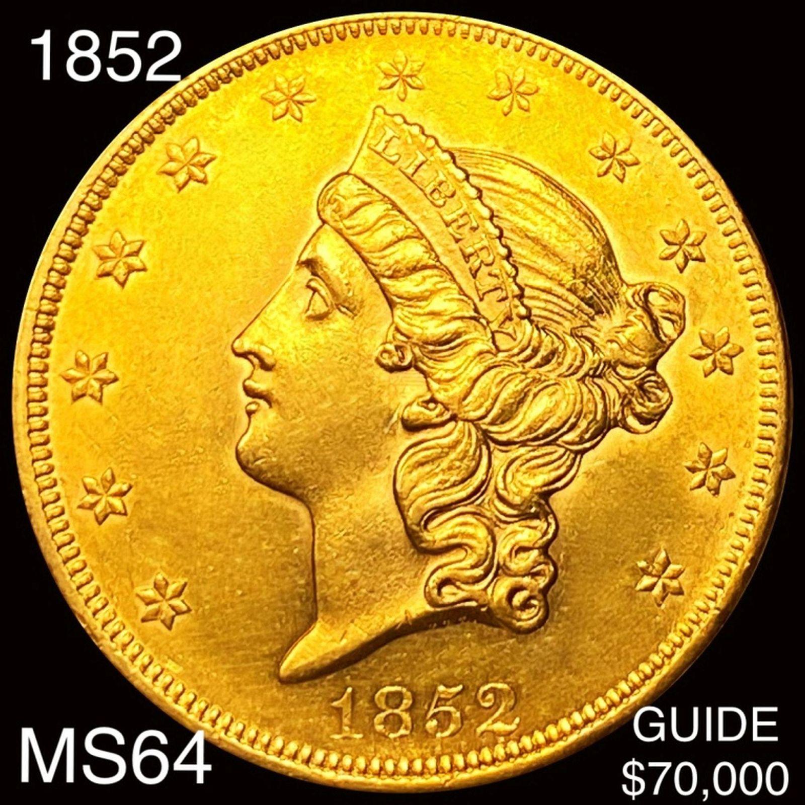 1852 $20 Gold Double Eagle CHOICE BU