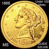 1866 $5 Gold Half Eagle UNCIRCULATED