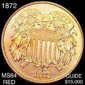 1872 Two Cent Piece CHOICE BU RED