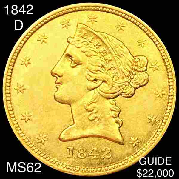 1842-D $5 Gold Half Eagle UNCIRCULATED