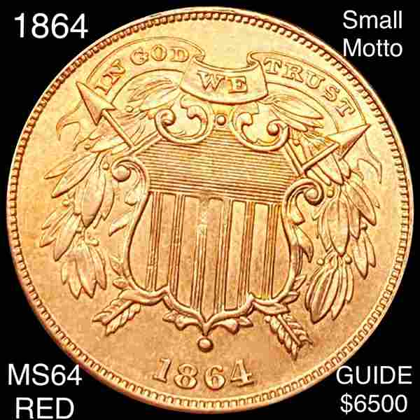 1864 Two Cent Piece CHOICE BU RED SML MOTTO