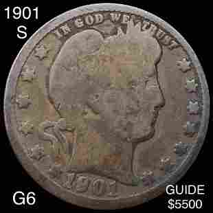 1901-S Barber Silver Quarter NICELY CIRCULATED