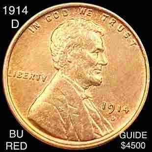 1914-D Lincoln Wheat Penny BRILLIANT UNC RED