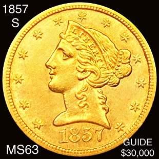 1857-S $5 Gold Half Eagle CHOICE BU