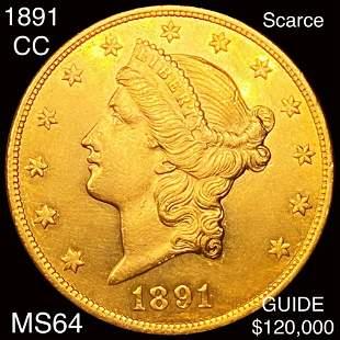 1891-CC $20 Gold Double Eagle CHOICE BU