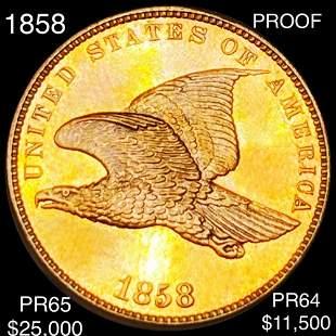 1858 Flying Eagle Cent GEM PROOF