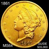 1861 $20 Gold Double Eagle CHOICE BU