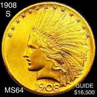 1908-S $10 Gold Eagle CHOICE BU