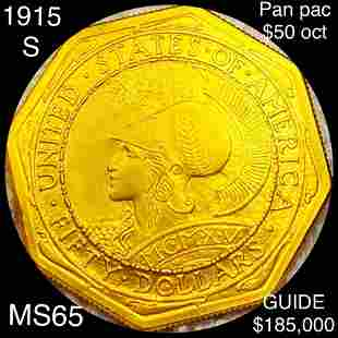 1915-S $50 Pan-Pac Octagonal Gold Piece GEM BU