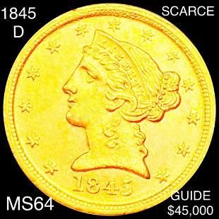 1845-D $5 Gold Half Eagle CHOICE BU