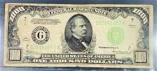 1934 US $1000 Green Seal Bill NEARLY UNC