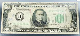 1934 US $500 Green Seal Bill CLOSELY UNC