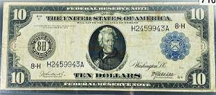 1914 US $10 Blue Seal Bill CLOSELY UNCIRCULATED
