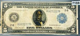 1913 $5 Blue Seal Bill NEARLY UNCIRCULATED