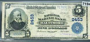 1920 $5 Blue Seal Bill CLOSLY UNCIRCULATED