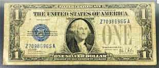 1928 $1 Blue Seal Bill NEARLY UNCIRCULATED