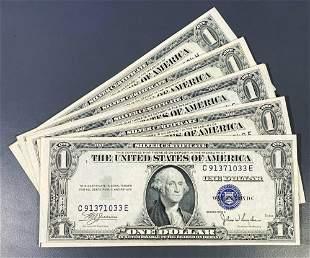 (5) 1935 $1 Blue Seal Bills UNCIRCULATED