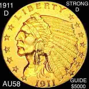 """1911-D """"STRNG D"""" $2.50 Gold Quarter Eagle CH AU"""