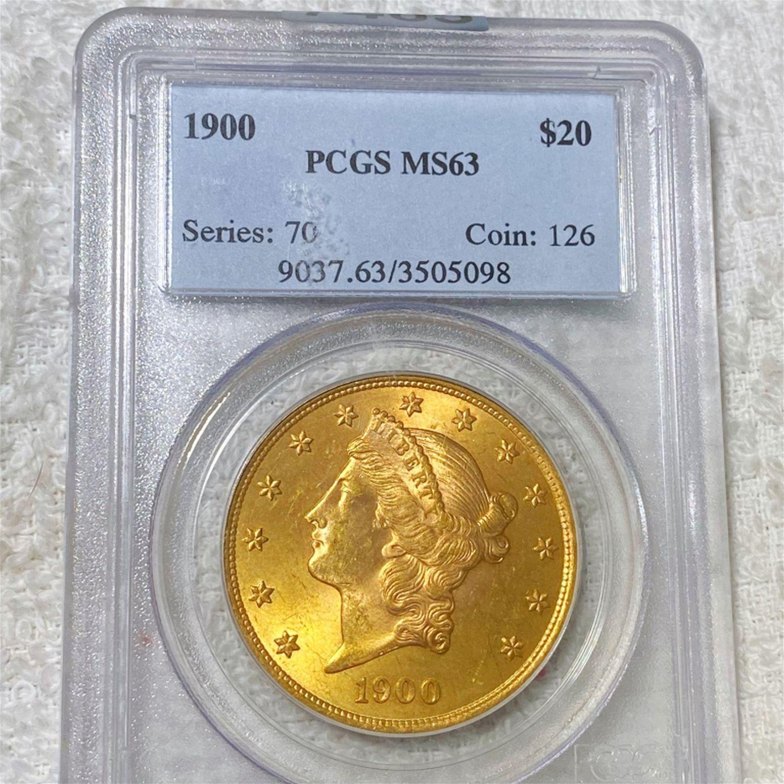 1900 $20 Gold Double Eagle PCGS - MS63