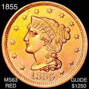 1855 Braided Hair Large Cent CHOICE BU RED
