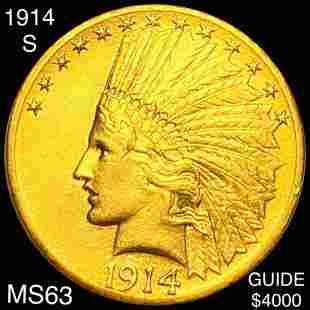 1914-S $10 Gold Eagle CHOICE BU