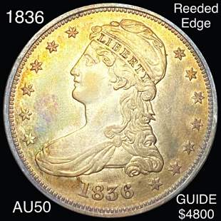 1836 Capped Bust Half Dollar ABOUT UNC REEDED EDGE