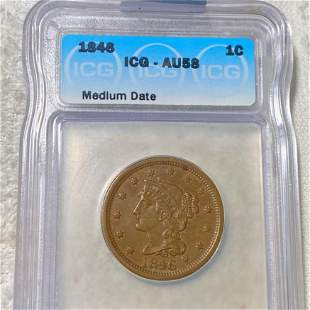 1846 Braided Hair Large Cent ICG - AU58 MED DATE