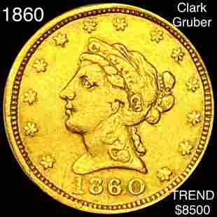 1860 Clark Gruber $2.50 Gold Quarter Eagle VF+