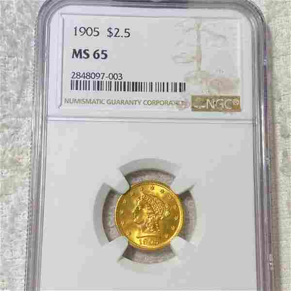 1905 $2.50 Gold Quarter Eagle NGC - MS65
