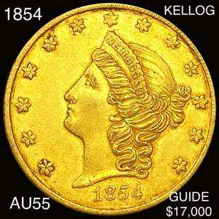 1854 $20 Kellog Gold Double Eagle CHOICE AU