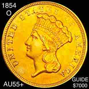 1854-O $3 Gold Piece CHOICE AU