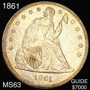 1861 Seated LIberty Dollar CHOICE BU
