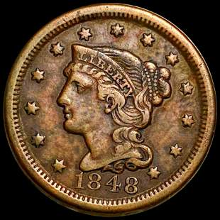 1848 Braided Hair Large Cent LIGHTLY CIRCULATED