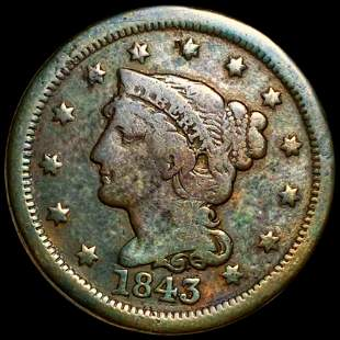 1843 Braided Hair Large Cent NICELY CIRCULATED