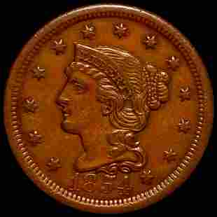 1854 Braided Hair Large Cent UNCIRCULATED