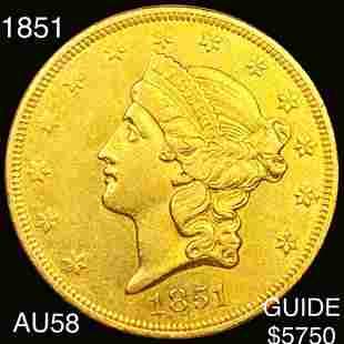 1851 $20 Gold Double Eagle CHOICE AU