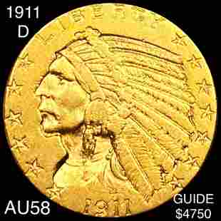 1911-D $5 Gold Half Eagle CHOICE AU