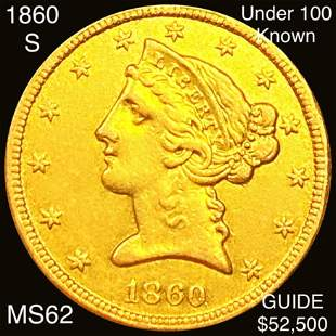 1860-S $5 Gold Half Eagle UNCIRCULATED