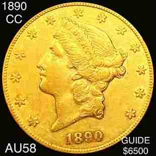 1890-CC $20 Gold Double Eagle CHOICE AU