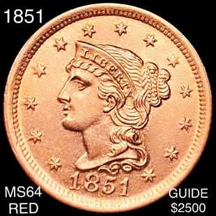 1851 Braided Hair Large Cent CHOICE BU RED