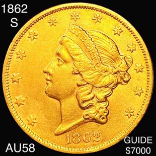 1862-S $20 Gold Double Eagle CHOICE AU