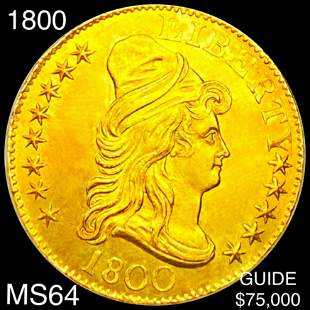1800 $5 Gold Half Eagle CHOICE BU