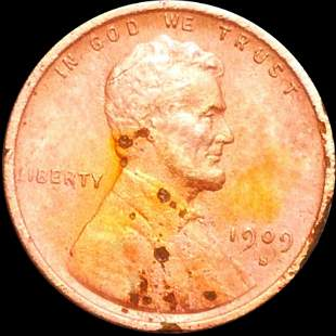 1909-S V.D.B. Lincoln Wheat Penny CLOSELY UNC