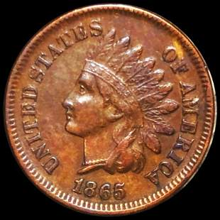 1865 Indian Head Penny NEARLY UNCIRCULATED