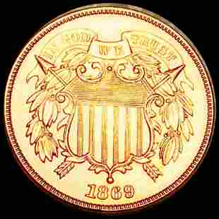 1869 Two Cent Piece CHOICE BU RED