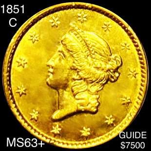 1851-C Rare Gold Dollar CHOICE BU