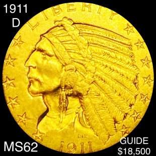 1911-D $5 Gold Half Eagle UNCIRCULATED