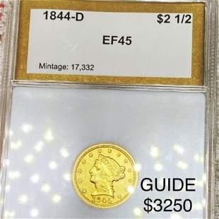 1844-D $2.50 Gold Quarter Eagle PCI - EF45