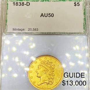 1838-D $5 Gold Half Eagle PCI - AU50