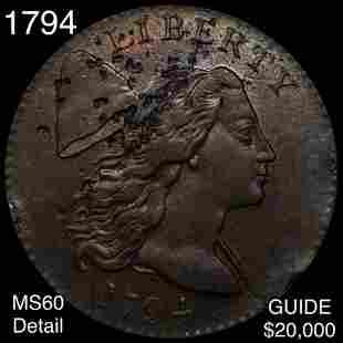 1794 Liberty Cap Large Cent UNC DETAIL